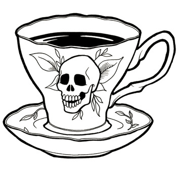 Tea cup with a floral skull design on it filled with dark liquid and saucer.